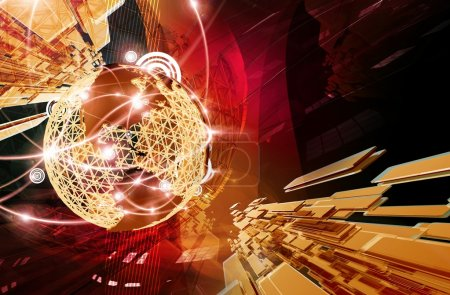 Photo pour Contexte commercial. Cool fond rouge foncé-doré brillant d'affaires. Illustration rendu 3D. Globe Structure with Glowing Worldwide Cities and Connections. Grand contexte pour les entreprises mondiales . - image libre de droit