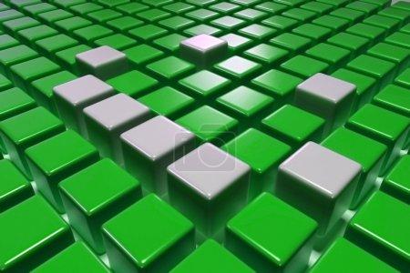 Photo pour Blocs verts 3D avec Silver One Upper. 3D Abstract Graphic Background. Blocs 3D . - image libre de droit