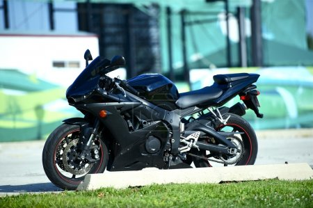 Black Sportbike Parked on the Street. Fast Sporty ...