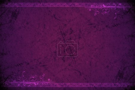 Photo for Purple Grunge Background. Scratched Rocky Like Texture with Top and Bottom Ornaments. - Royalty Free Image