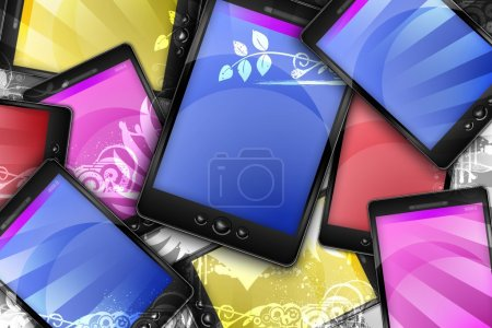 Photo for Mobile World. Colorful PDA Phones with Floral Ornaments. Modern Technology Theme. - Royalty Free Image