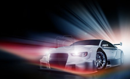 Photo for Speed Demon - Motorsport Theme. Cool Colorful Lights and Performance Vehicle with Headlights On. Transportation Illustrations Collection - Royalty Free Image
