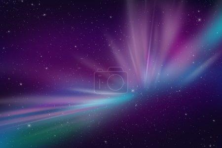 Photo pour Aurora Polar Lights Illustration abstraite d'événements spatiaux. Cool comme fond pour tout type d'oeuvre d'art. Couleurs violet foncé et bleu. Ciel nocturne avec de nombreuses étoiles . - image libre de droit