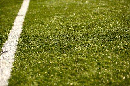 Photo pour Champ d'herbe de sport avec ligne blanche (profondeur de champ) Photo horizontale du terrain de football - image libre de droit