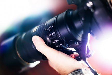 Photo pour Prendre des photos - téléobjectif avec thème de photographie numérique image stabilisation system (réduction de vibration vr). - image libre de droit