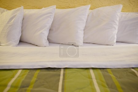 Photo for King Size Bed and Five Pillows - Closeup. Household Photo Collection. - Royalty Free Image