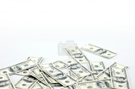 Photo for Laying Money - Laying One Hundred Dollar Bills Isolated on White. Money Photo Collection. - Royalty Free Image