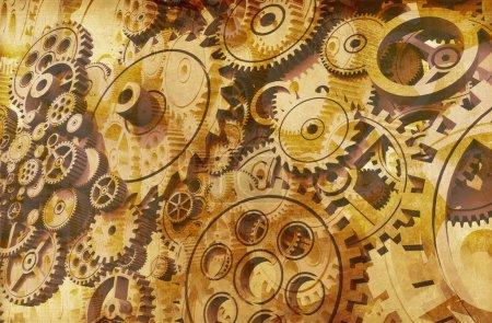 Photo pour Résumé Vintage Gears Background Design. Cool 3D Grunge Gears Arrière-plan . - image libre de droit