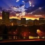 Denver Skyline at Sunset. Colorful Beautiful Sunse...