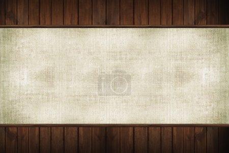 Photo pour Bois et toile de fond. Planches en bois brun foncé et toile de lin toile de fond . - image libre de droit