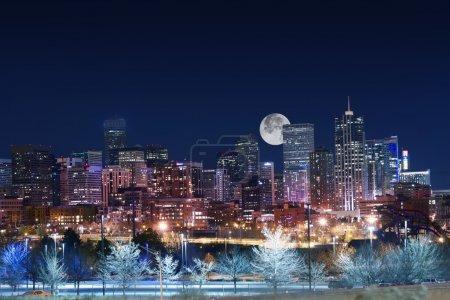Denver Skyline West Side. Night in Colorado. Downt...