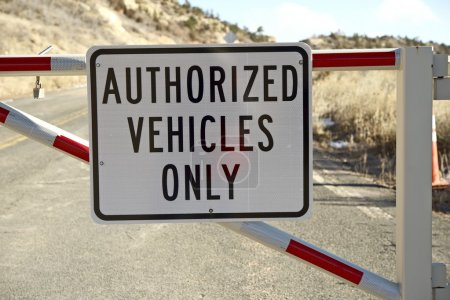 Photo for Authorized Vehicles Only Sign on Gate. Transportation Signs. - Royalty Free Image