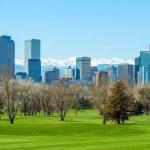 Sunny Denver Skyline. Spring in Colorado. Denver S...
