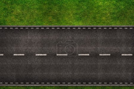 Photo for Two Lanes Two Ways Road From Above Background Illustration - Royalty Free Image