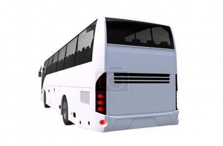 Tour Bus Rear View Illustration