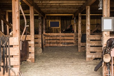 Photo for Old Wooden Barn Interior. Barn Photo - Royalty Free Image