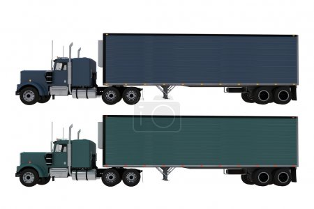 Two Trucks Side View Isolated