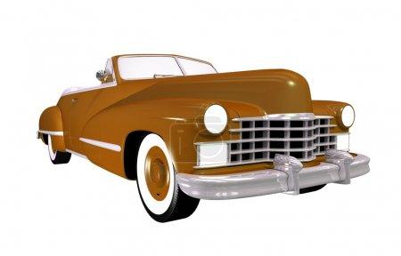 Foto de Vintage coche descapotable clásica. marrón clásico aislado en blanco. - Imagen libre de derechos