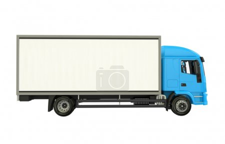 Photo for Blue Cargo Truck Isolated on White. Cargo Truck Side View Illustration 3D - Royalty Free Image