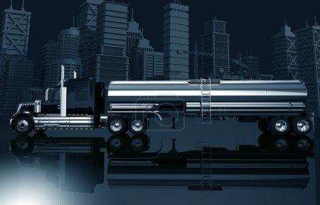 Photo pour Urban Trucking Concept Illustration. Illustration 3D de dégradé de couleur bleu foncé avec semi-camion avec pétrolier et la ville Skyline . - image libre de droit
