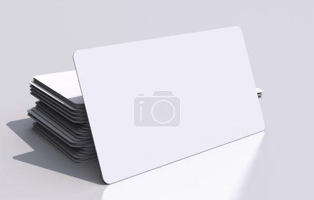 Photo pour Maquette de cartes de visite vierges blanches. 3d illustration de cartes de visite coins arrondis. concept de communication visuelle. - image libre de droit