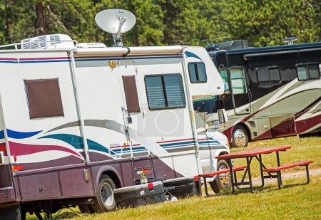RV Motorhomes Camping. Recreation Vehicles on the ...