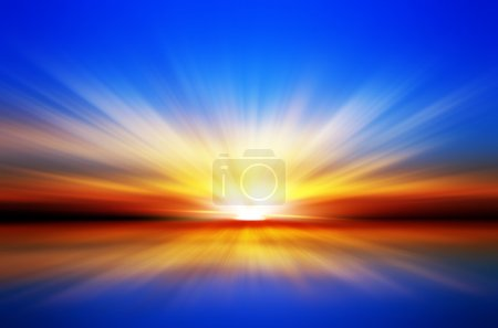 Photo for Sunset over the sea. Blue sky. Red horizon. Yellow sun rays - Royalty Free Image