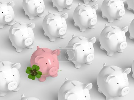 Uniform white piggy-banks arranges in grid and a p...