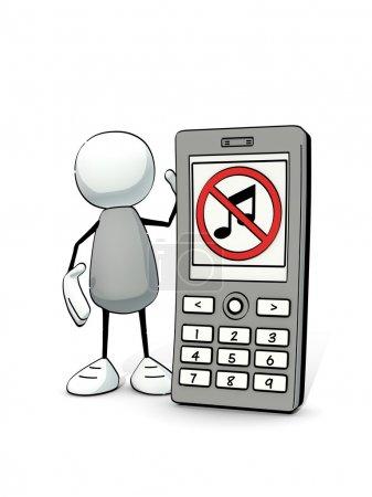 Photo pour Petit esquissé avec un téléphone portable demandant d'éteindre le son - image libre de droit