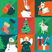 Christmas Icons Christmas characters attributes are located on the squares of different colors