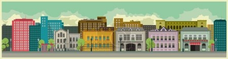Illustration for Cityscape building tall buildings against the sky on a long strip Widescreen - Royalty Free Image