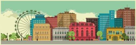 Illustration pour Paysage urbain avec de grands bâtiments sur un fond de ciel pour l'impression grand format - image libre de droit