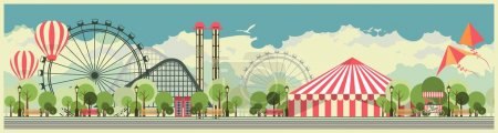 Illustration for Vector holiday background with karnvalom and amusement park - Royalty Free Image