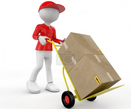 3d people - man, person with hand trucks and packages. Postman
