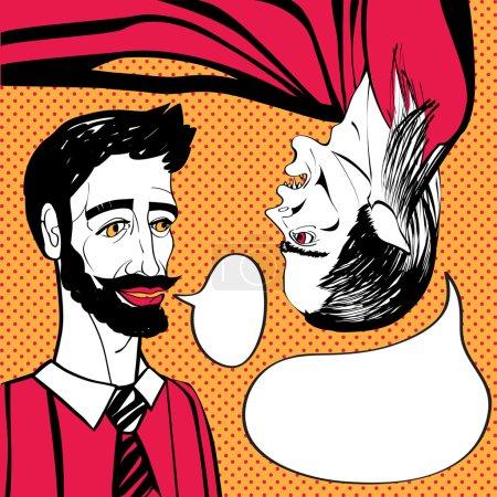 Photo pour Illustration tirée d'un homme et un vampire à l'envers la main parlante, funny pop art scène comique avec bulle de dialogue sur fond orange à pois - image libre de droit