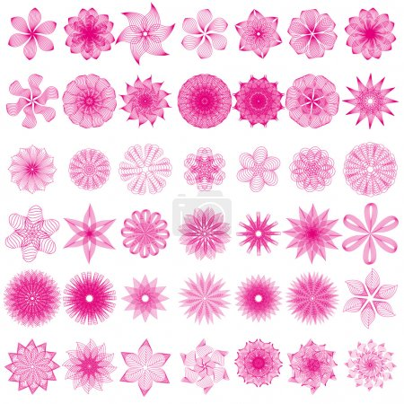 Illustration for Vector set with abstract flowers for you design - Royalty Free Image