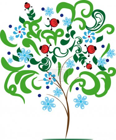 abstract vector tree with different elements