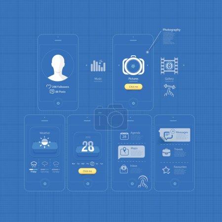 Infographics design UI Elements: Mobile Gui blueprints