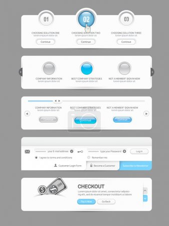 Website design template menu elements with icons set