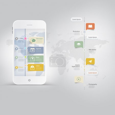 Illustration for Mobile phone with timeline and icons set - Royalty Free Image