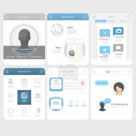 Flat Infographics design UI Elements with icons for templates