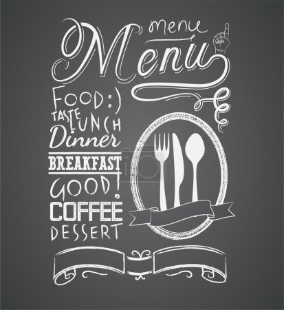 Illustration for Illustration of a vintage graphic element for menu on blackboard - Royalty Free Image