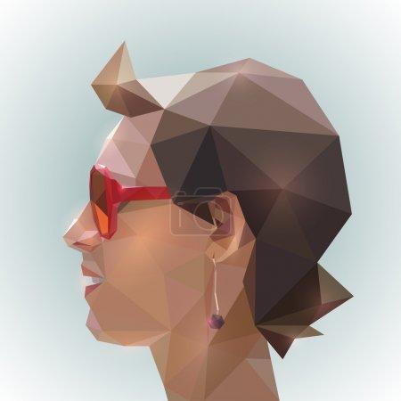 Illustration pour Profil de jeune homme dans le style origami - image libre de droit