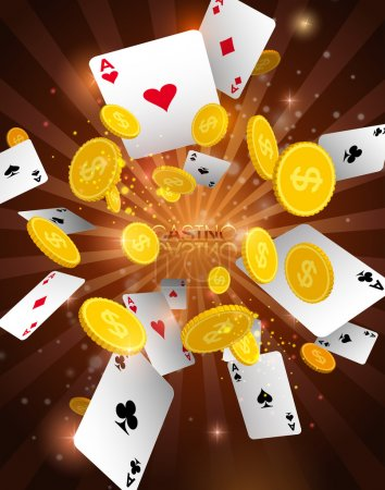 Casino abstract background with flying playing cards & money