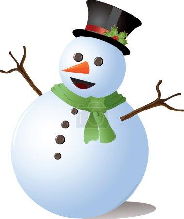 Photo pour Image de Clipart d'un bonhomme de neige mignon utilisant un chapeau et une écharpe de dessus. - image libre de droit