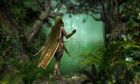 Photo pour Un chasseur dans une cape à capuchon passe à travers la forêt - image libre de droit