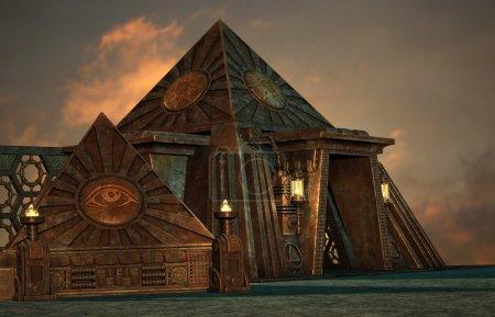 Photo pour Une illustration des deux pyramides en style steampunk - image libre de droit