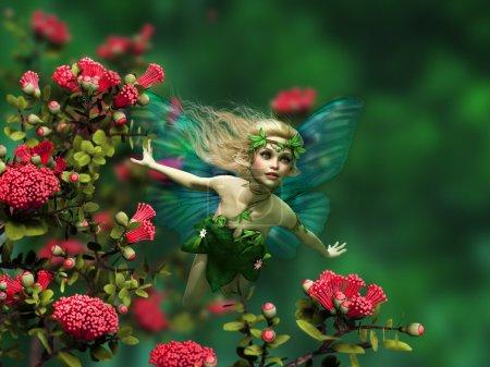 Photo pour Infographie 3D d'une fée volante avec des ailes de papillon et cheveux blonds - image libre de droit