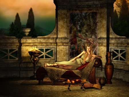 Photo for 3d computer graphics of a fantasy scene with girl in ancient Roman style - Royalty Free Image