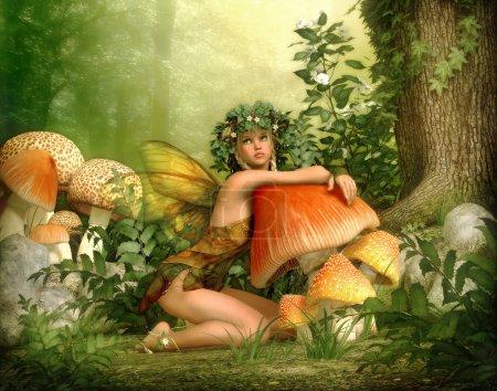 Photo pour Infographie 3D d'une fée avec une couronne sur sa tête, appuyé contre un champignon - image libre de droit